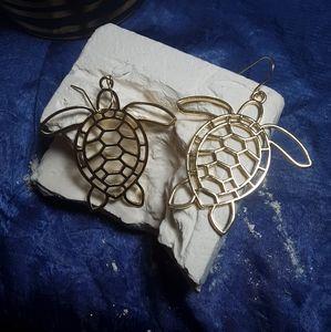 Gold sea turtle earrings